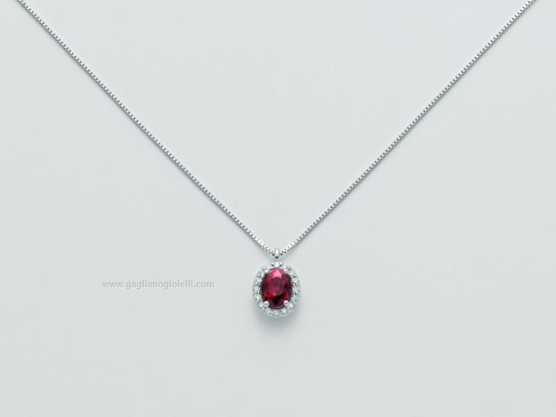 Miluna collana in oro bianco 18 kt con rubino e diamanti CLD4095